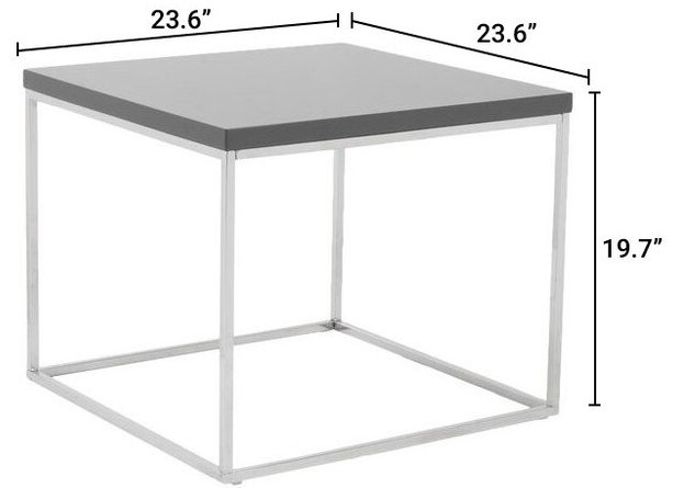 Teresa Square Side Table Gray