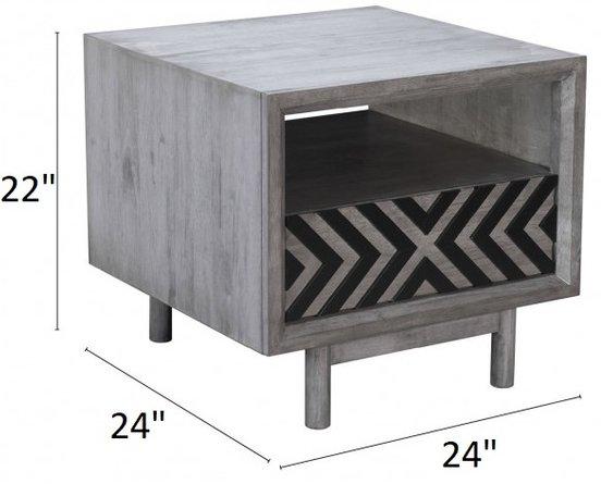 Raven End Table Gray