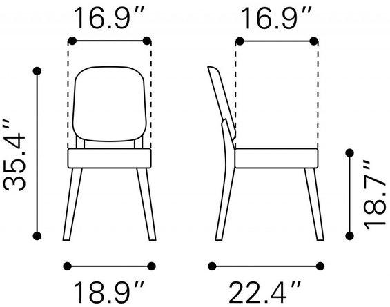 Alberta Dining Chair Walnut & Dark Gray (Set of 2)