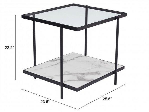 Winslett End Table Clear & White Matt Black