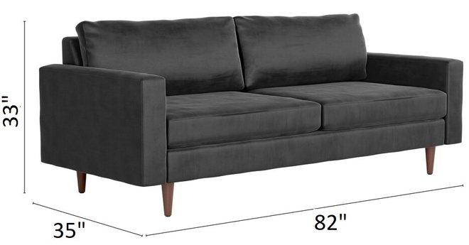 Kace Sofa Charcoal Velvet