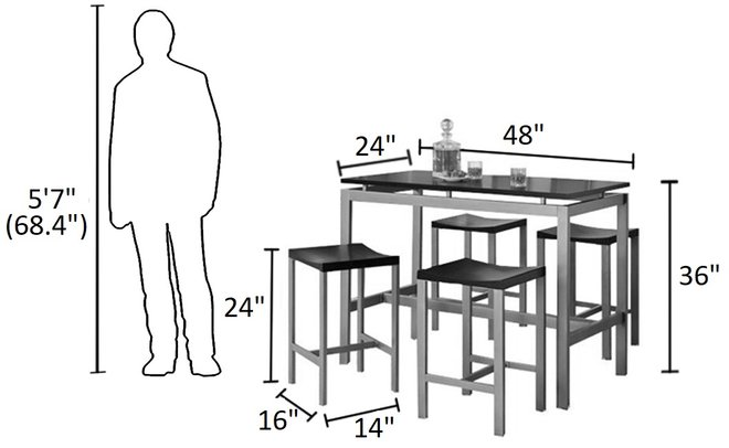 Casual Metal Dining Set For 4 Black And Silver