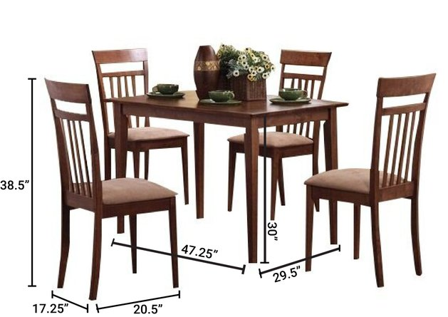 Casual Dining Set For 4 Chestnut