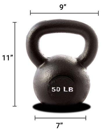50 lb Kettlebell Black (Single Unit)