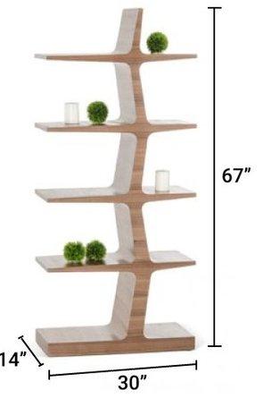 Modrest Timber Bookcase Walnut