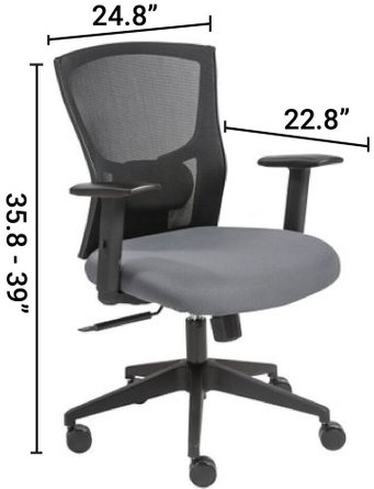 Belma Low Back Office Chair Black And Gray
