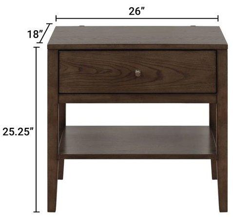 Lompoc Mid-Century Modern Nightstand Ash Brown