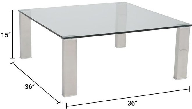 """Beth 36"""" Square Coffee Table Clear & Stainless Steel"""