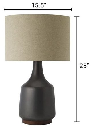 West Elm Morten Lamp Metallic Black And Natural