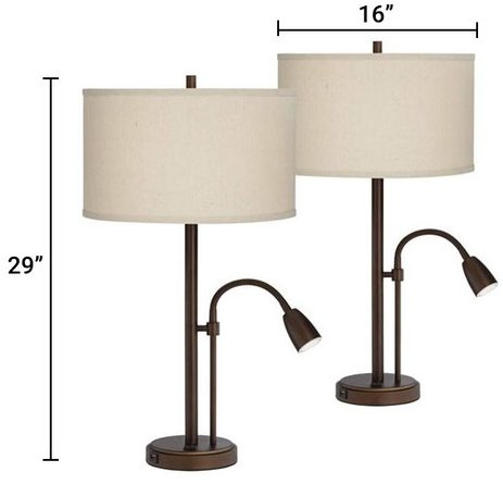 Traverse Gooseneck LED Lamps with USB Ports Bronze (Set of 2)