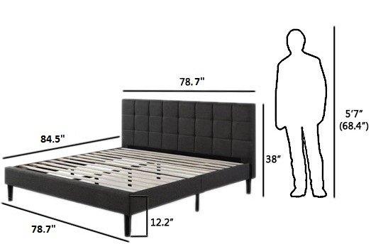 Calvin Platform King Bed Dark Gray