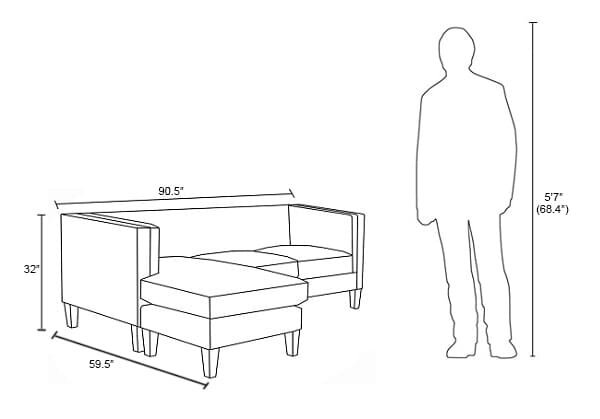 Sawyer Reversible Sectional Sofa Dusty Blue