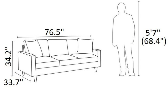 Watsonville Retro Sofa Gray