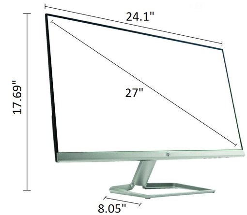 "HP 27F 27"" IPS LED FHD FreeSync Monitor Natural Silver"