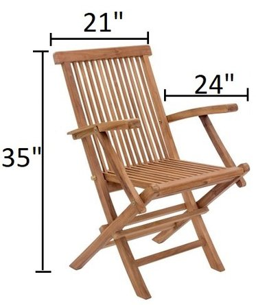 Regatta Folding Arm Chair Natural (Set of 2)