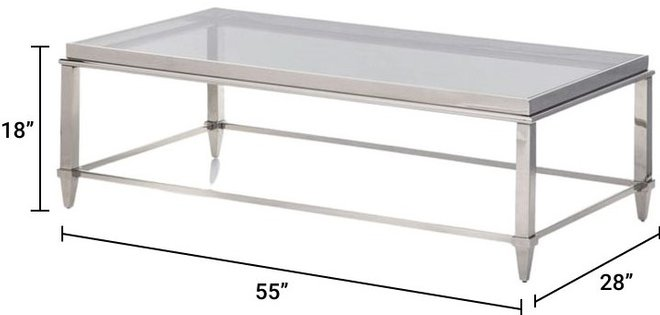 Agar Coffee Table Gray & Stainless Steel