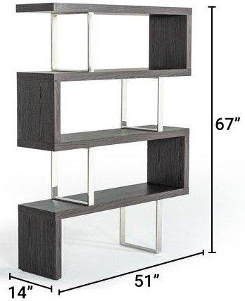 Modrest Maze Bookcase Gray Elm