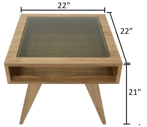 Modrest Dublin Modern End Table Walnut