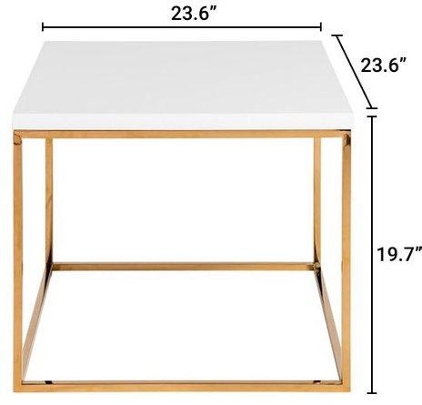 Teresa Square Side Table White & Gold