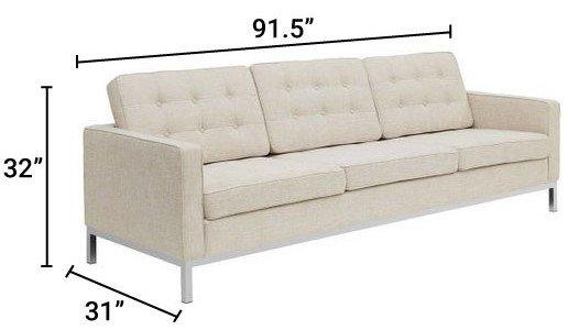 Loft Upholstered Fabric Sofa Beige