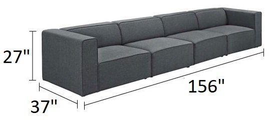 Mingle Upholstered Fabric Sectional Sofa Set Gray