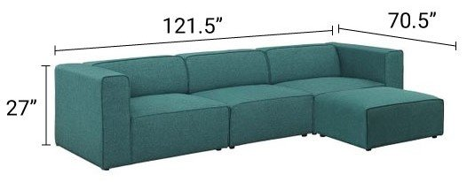 Mingle Upholstered Reversible Sectional Sofa Teal