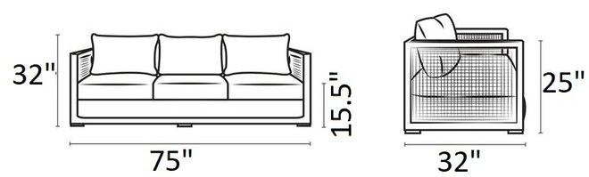 Aura Outdoor Sofa Gray & White