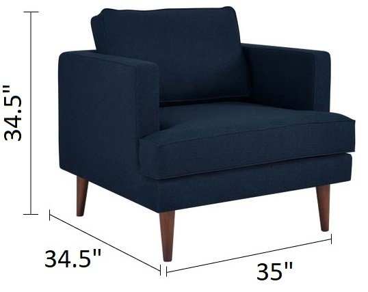 Agile Upholstered Fabric Armchair Blue