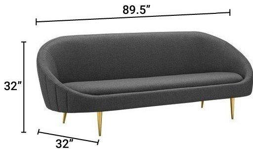 Sublime Vertical Curve Back Performance Velvet Sofa Navy