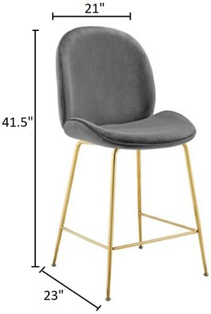 Scoop Performance Velvet Counter Stool Gray And Gold