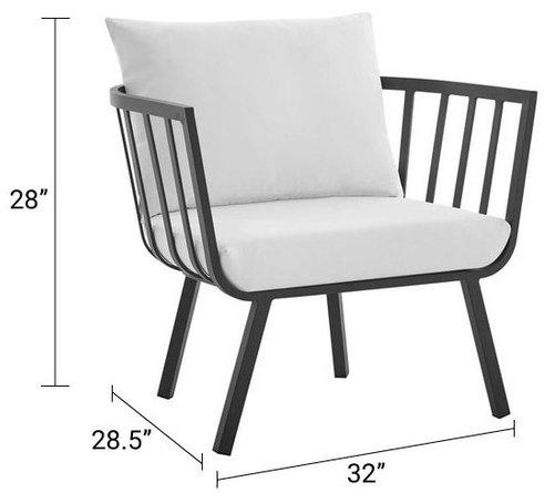 Riverside Outdoor Armchair Gray & White
