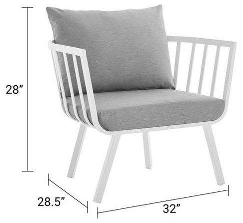 Riverside Outdoor Armchair White & Gray