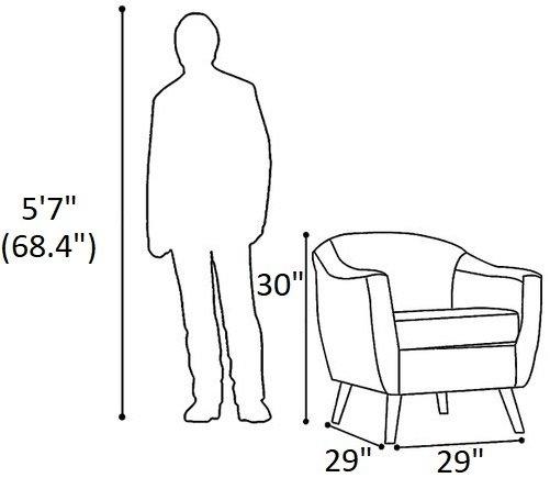 Roland Mid-Century Accent Chair Orange