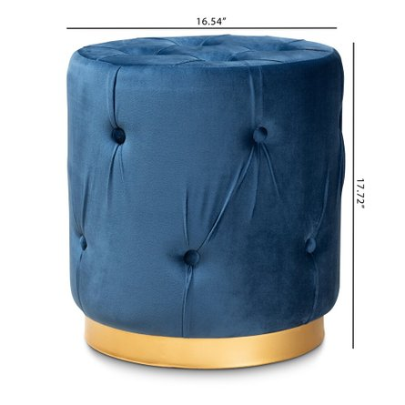 Baxton Studio Upholstered Ottoman Navy Blue And Gold