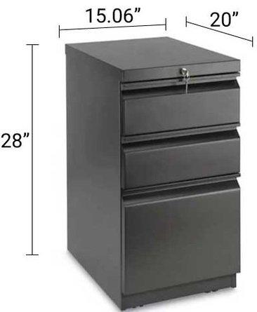 Mobile Pedestal File Cabinet 3 Drawer Black