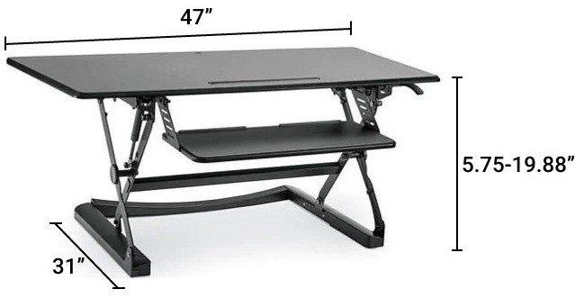 Sit-Stand Desktop Riser Large Black