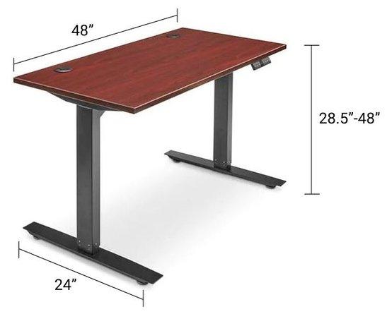 Adjustable Height Desk 48 x 24 Mahogany