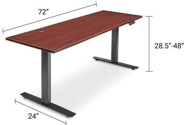 Adjustable Height Desk 72 x 24 Mahogany