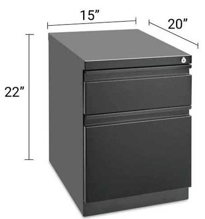 Mobile Pedestal File Cabinet 2 Drawer Black