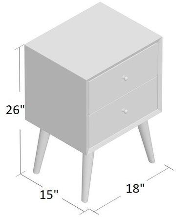 Prue 2 Drawer Nightstand Acorn