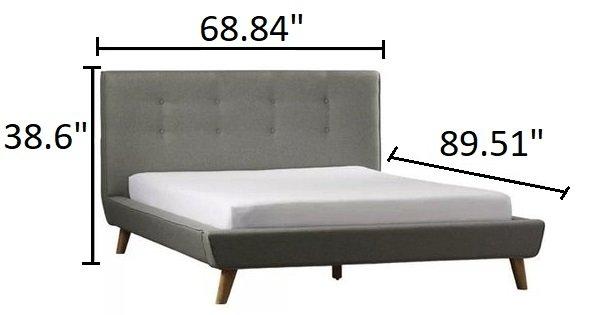 Margen Upholstered Platform Queen Bed Gray