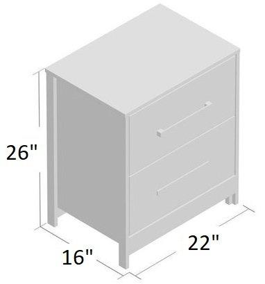 Abbott 2 Drawer Nightstand Gray