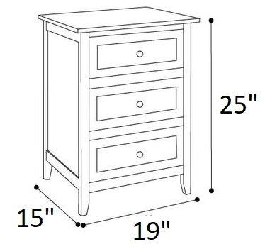 Arlen 3 Drawer Nightstand White