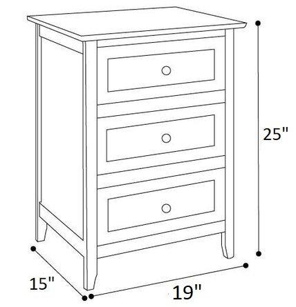 Arlen 3 Drawer Nightstand Gray