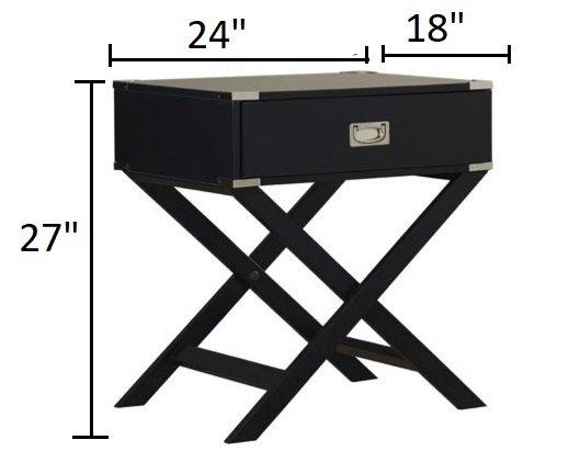 Madge 1 Drawer End Table Vulcan Black