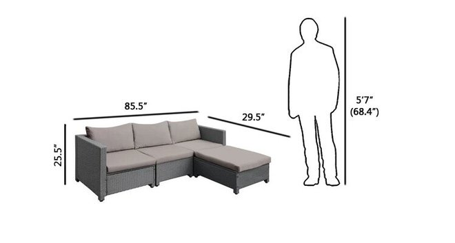 Dowell Sectional Sofa Set 5 Piece Gray