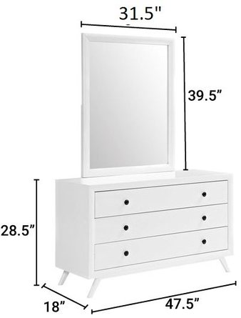 Tracy Dresser With Mirror White