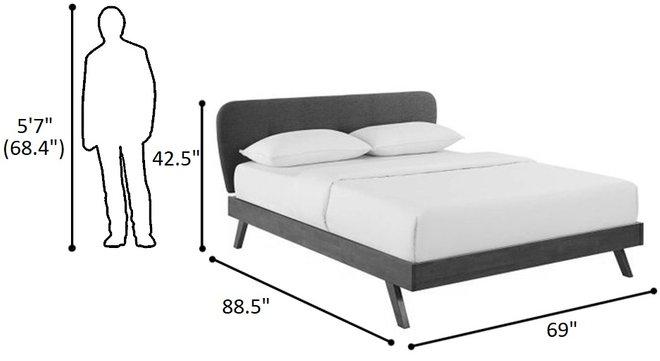 Gianna Queen Upholstered Platform Bed Gray
