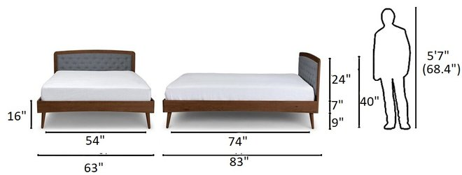 Article Culla Upholstered Queen Bed Thunder Gray And Walnut