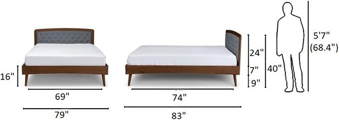 Article Culla Upholstered King Bed Thunder Gray And Walnut